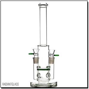 Juntas duplas bong com favo de mel perc dab rig equipamento de petróleo tubulação de fumar vidro Bongs verde clássico