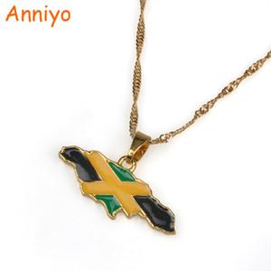 Anniyo Jamaika Karte und Nationalflagge Anhänger Halsketten Gold Farbe Schmuck Jamaican Geschenke # 080406