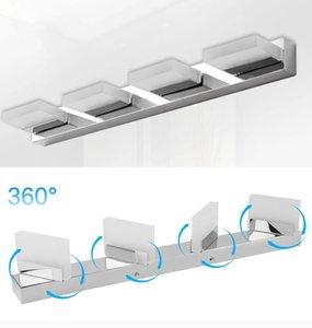 360 درجة استدارة الحمام الاكريليك LED ضوء الجبهة مرآة الفولاذ المقاوم للصدأ مصباح الجدار