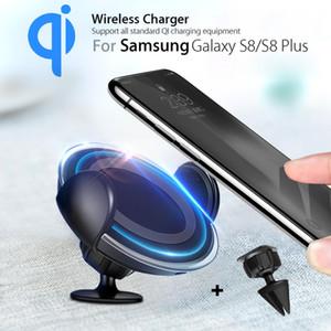 QI Kablosuz Şarj Pad 360 Döner Araç Şarj Tutucu Dock iPhone Hava Firar Dashboard Dağı Tutucu ile Cep Telefonu Için LED ile