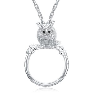 Magnifying glass necklace for reading women's fashion Owl pendant necklace Rhodium plated with crystal Magnifier necklace