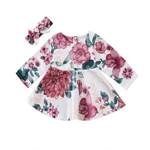 Pudcoco Nouveau-né Bébés Filles Manches Longues Robe Florale Bandeau 2PCS Tenues Enfants Vêtements Set