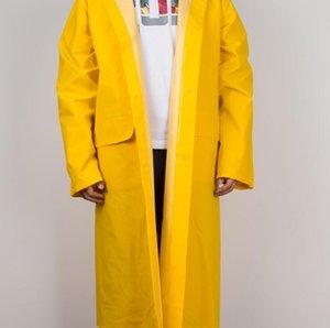 سماكة الفلورسنت الأصفر الملتصقة الكبار معطف واق من المطر ماء الكبار في الهواء الطلق معطف واق من المطر