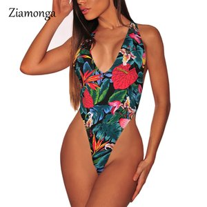Ziamonga Sexy Imprimé Floral Profond V Halter Fit Barboteuse Body Siamois Body Undershirt Femmes Combishorts Dos Nu Femme Salopette