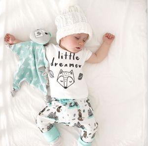 0-2Y verão bebê recém-nascido menina roupas conjunto pequeno sonhador raposa t-shirt tops + calças roupas roupas de bebê conjunto de roupas