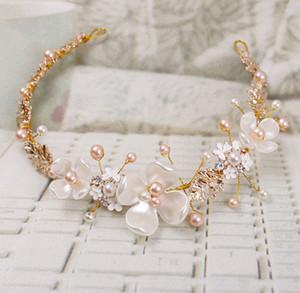 2018 Nupcial Flor Faux Pearl Rhinestone Headband Do Casamento Tiara Clipe de Cabelo Acessórios HairPin Tiara Nupcial Coroa Pinos de Cabelo Noiva Cabelo Jewelr