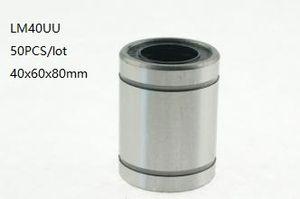 50 unids / lote LM40UU 40mm rodamientos lineales de bolas buje deslizante lineal de movimiento lineal rodamientos 3d piezas de la impresora cnc router 40x60x80mm