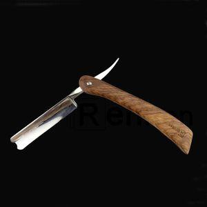 440C Steel Barber Shaving Razor Straight Edge Manual Shaver with Wood Handle