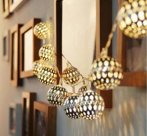Cadena de iluminación solar luces de jardín al aire libre 20 LED marroquí astilla bola de metal sueño de hadas lámpara para la decoración del patio en casa