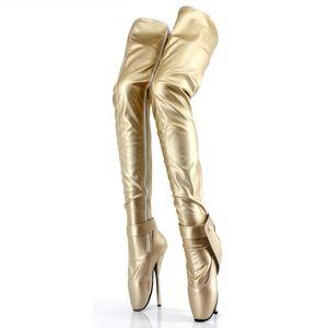 Kadın Ayakkabı Kadınlar Için Aşırı Yüksek Topuk 18 Cm Diz Üzerinde Bale Çizmeler Fetiş Seksi Crotch Uzun Çizmeler Kutup Dans ...