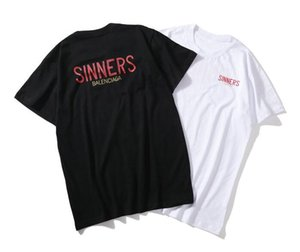 18ss Luxury Europe Milano Paris 고품질 Oversize Tshirt 패션 남성 여성 Sinners Golden Print T Shirt 캐주얼 코튼 티 Top