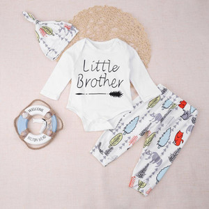 3pcs Set Unisex Baby Letters Long Sleeve Romper Pants Hat Outfits Clothes Jumpsuit Clothes Kids Outfits