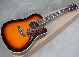 """43 """"Guitarra acústica de recorte de tobacco Sunburst Corte con diapasón de palisandro, Pickguard de flor, Acacia Atrás / Lado, Sillín de hueso y tuerca"""