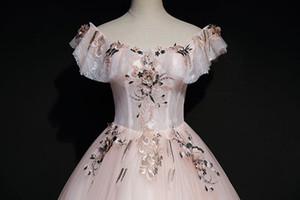 창백한 핑크 빈티지 자수 공 가운 중세 르네상스 가운 여왕 cos 빅토리아 드레스 / Antoinette / 벨 공