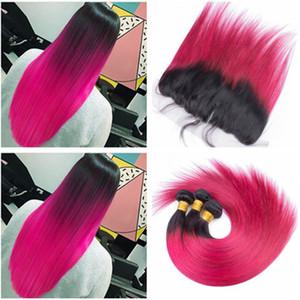 Ombre 1B / Ярко-Розовый Двухцветный Плетение Человеческих Волос с Фронтальными Шелковистыми Прямыми Розовыми Ombre Пучок Волос Девственницы Сделки с Фронтальной Кружевной