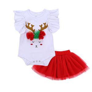 2018 Mädchen Weihnachten Set Baby Mädchen fliegen Hülse Pailletten Weihnachten Hirsch weißen Strampler + rot Mesh Tutu Rock 2pcs / Set H153