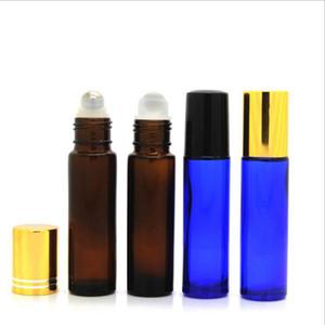 (8) стеклянные бутылки ролика 10 мл кобальта голубые янтарные ясные бутылки ролика эфирного масла с шариками ролика нержавеющей стали идеальными для необходимого о