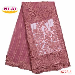 2018 Ultime Nigerian Laces Tessuti di alta qualità africano lacci tessuto per abito da sposa francese tulle pizzo con perline XY1672B-5