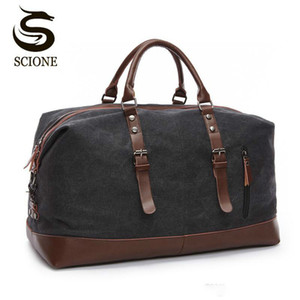 Scione Canvas Leather Men Bolsas de viaje Carry on Luggage Bag Hombres Duffel Bags Travel Tote Large Weekend Bag Durante la noche Male Male Handbag