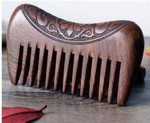 Marka Yeni Cep Ahşap Tarak Doğal Altın Sandal Ağacı Süper Geniş Diş Ahşap Combs Çift yan kazınmış küçük saç combs Ücretsiz Kargo