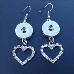 12 paires / lot Dernière conception de la mode strass coeur noosa morceaux 18mm bouton pression prise boucles d'oreilles pour femmes bijoux
