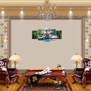 Amosi Art 5 Pieces 캔버스 인쇄 디자인 Wall Art Painting Decor 가정용 선종 장식 Buddha Landscape Artwork Pictures 침실 Unframed
