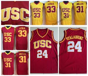 빈티지 USC 트로이 목마 브라이언 Scalabrine # 24 대학 농구 유니폼 리사 레슬리 # 33 홈 레드 옐로우 셰릴 밀러 # 31 스티치 셔츠