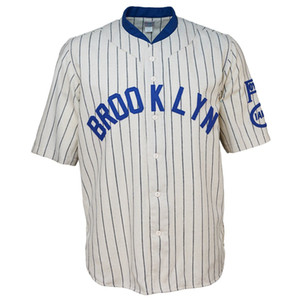 브루클린 1925 홈 저지 100 % 스티치 자수 로고 빈티지 야구 유니폼 사용자 정의 이름 선택 번호 무료 배송