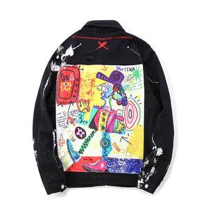 ABOORUN Mens Hip Hop Denim Ceketler Boy Grafiti Boyalı Kot Ceketler erkek Marka Yırtık Ceket Streetwear x1282