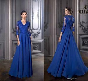 Шифон линия вечерние платья дешевые с длинным рукавом изысканный мать невесты Платья Janique иллюзия кружева вечерние платья на заказ