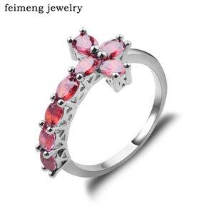 Роскошные тенденции боком крест посеребренные кольца ювелирные изделия падение доставка Кристалл старинные обручальное кольцо для женщин Оптовая