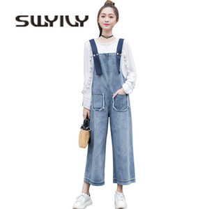 SWYIVY Denin Jumpsuit Jeans Mujer Otoño 2018 Mujer Casual Overol Pantalones Ankle Length Pantalones anchos de pierna Lady Cotton Jumpsuits