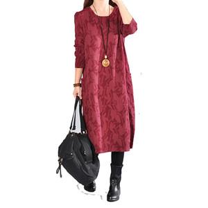 Kadınlar pamuk keten dress baskı çiçek bahar yeni uzun kollu casual kadın giyim cepler elbiseler o-boyun elbiseler