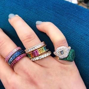 arc-en-baguette zircons cz bague de fiançailles en or bande remplie pour les femmes USA baisse de vente chaud expédition bijoux féminins L18100707