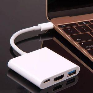 متعدد الوظائف 3 في 1 USB-C محور USB 3.0 HDMI نوع- C محول الفيديو للكمبيوتر اللوحي 10PCS / أعلى