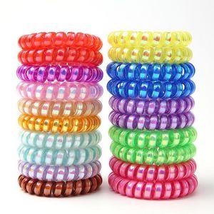 Las vendas del cable de alambre para PinkycolorTelephone Bandas mujeres pelo elástico de goma Cuerdas pelo de las muchachas de pelo anillo de accesorios al por mayor