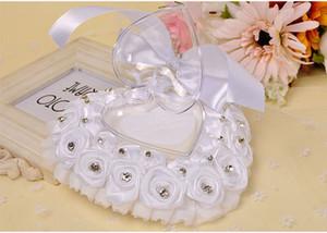 2019 Hotsale FEIS all'ingrosso anello cuscino poliestere rosa anello anello a forma di cuore scatola di nozze forniture accessori da sposa