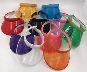 Unisex Verão Limpar Plástico PVC Vazio Top Hat Clip On Sun Viseira Chapéu Proteção UV Praia Caps 10 pçs / lote