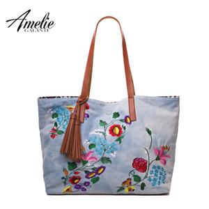 AMELIE Galanti Sacos de algodão mulheres casuais ombro de moda jeans bordado floral bolsas totes originais do projeto saco de compras