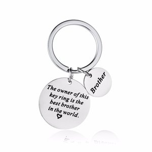 12PC Lot Family Brother Keychain Gifts Love Heart Stainless Steel Keyring For Boys Men Key Chain BFF Best Friends Key Holder New
