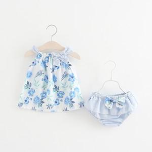 아기 소녀 꽃 의상은 꽃을 인쇄 보우 드레스 가기 + 스트 라이프 pp 반바지 2pcs / set 2018 여름 옷 부티크 어린이 의류 세트 C3964