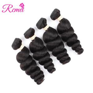 Rcmei Loose Wave Unproceesed 100% peruviana Capelli Colore naturale 4 pacchi Macchina Doppio tessuto Estensione dei capelli 4 PCS / pacchetto