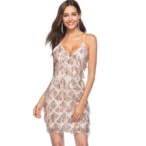 2018 Summer Europe American Strap Short Club Sequinned Dress Deep V Neck Sexy Cocktail Party Dress Beaded Tassle Sequin Midi Dress