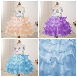 Niñas Unicorn Princess Dresses Baby Wedding Dress Vestido sin tirantes de Gasa de las muchachas Toddler Performance Skirt Ropa de diseñador de los niños AAA1155