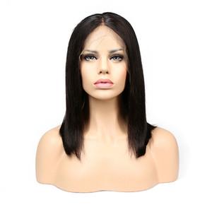 Capelli corti merletto anteriore bob parrucche dei capelli pre attaccati linea sottile brasiliana peruviana malese indiana capelli lisci vergini parrucche piene nodi candeggiati