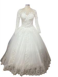 Vestidos de boda románticos del vestido de bola de manga larga Apliques de encaje encantador Vestidos de novia 2018 por encargo abito da sposa
