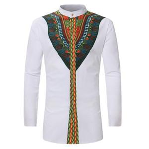Africa Clothing African Dashiki Shirt 2018 Fashion Ethnic Printed Long Line Shirt Hombres Slim Fit Camisetas de manga larga Camisas masculinas