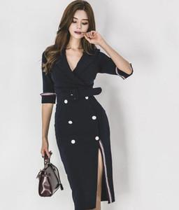 Корейская версия новой осенней моды темперамент офис леди двубортный тонкий костюм воротник длинное платье