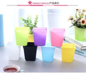 Mini Vasos de Flores De Plástico Vasos De Flores De Plástico Colorido Desktop Em Vasos de Plantas Suculentas pote com Bandeja quadrado doces cores plantadores de jardim home decor