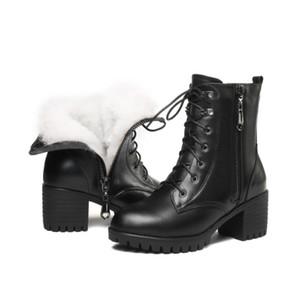 Stivali invernali da donna in vera pelle con tacchi alti GKTINOO Stivali invernali da donna in lana di lana pesante di alta qualità